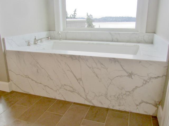 Marble tub deck for Limestone bathtub