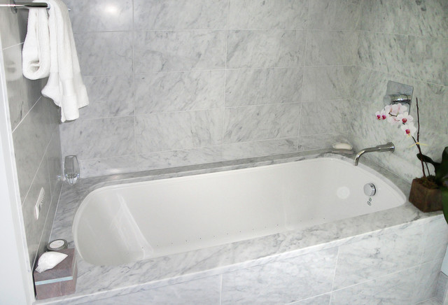 Marble Tub Surround Traditional Bathroom