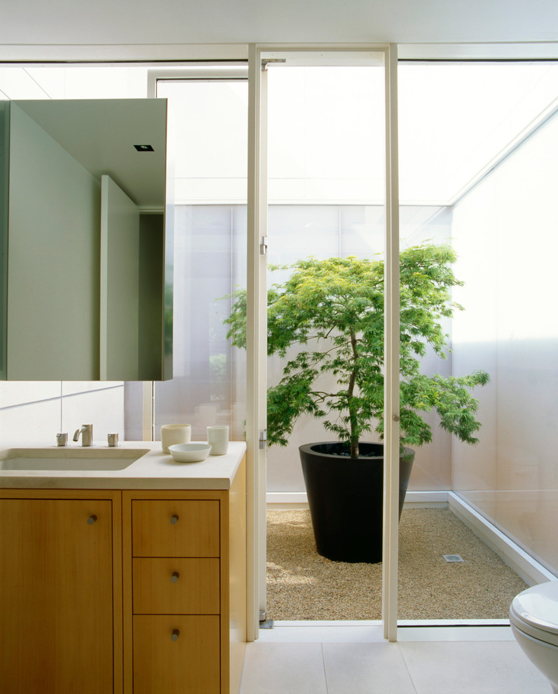 Inspiration for a contemporary bathroom remodel in San Francisco with an undermount sink