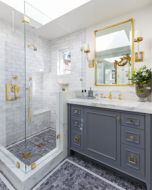 Inspiration for a mid-sized timeless white tile and marble tile mosaic tile floor and gray floor corner shower remodel in San Francisco with gray cabinets, white walls, an undermount sink, a hinged shower door and furniture-like cabinets
