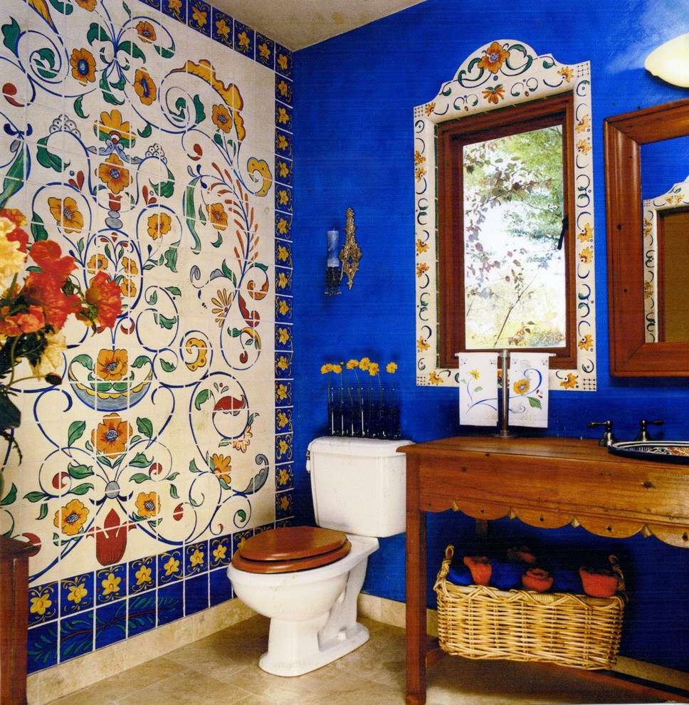 Bathroom - eclectic multicolored tile bathroom idea in San Francisco with a drop-in sink, open cabinets and medium tone wood cabinets