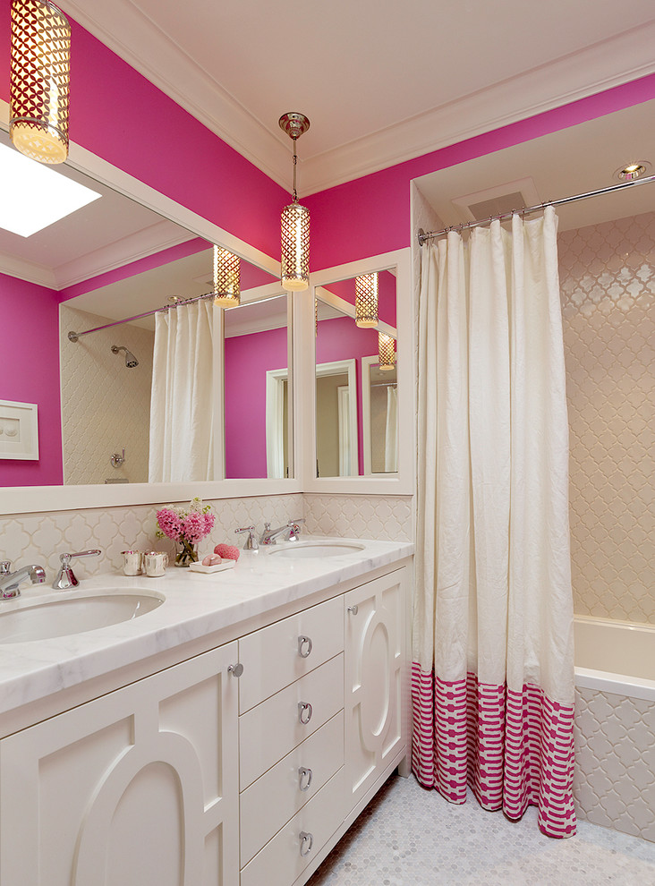 Bathroom - transitional kids' beige tile bathroom idea in San Francisco with an undermount sink, pink walls and white cabinets