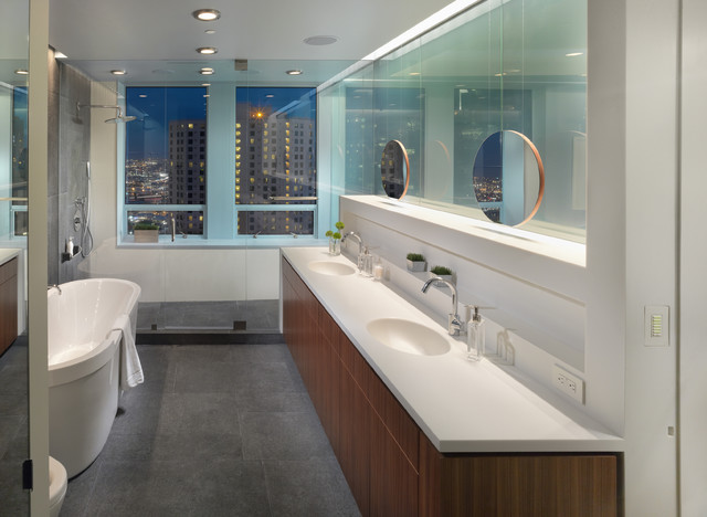 example of a mid sized minimalist master gray floor bathroom design in san francisco with - Bathroom Designs Philippines