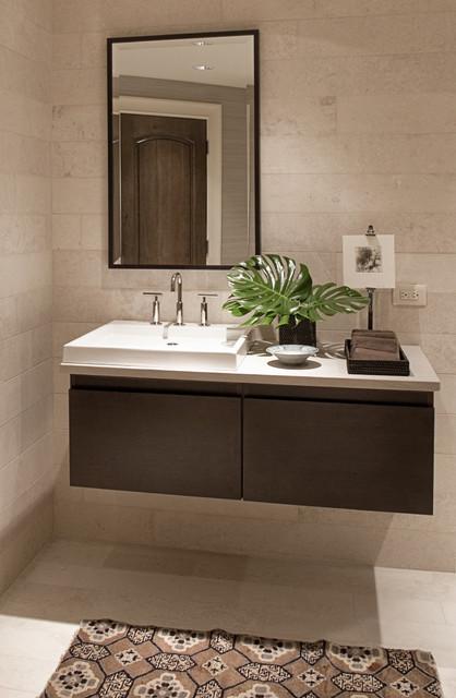 Marshall morgan erb design inc contemporary bathroom for Powder room vanity sink cabinets