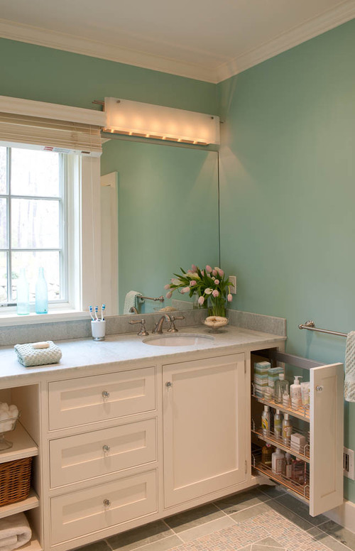 Beach Style Bathroom by Boston Interior Designers & Decorators Elizabeth Swartz Interiors