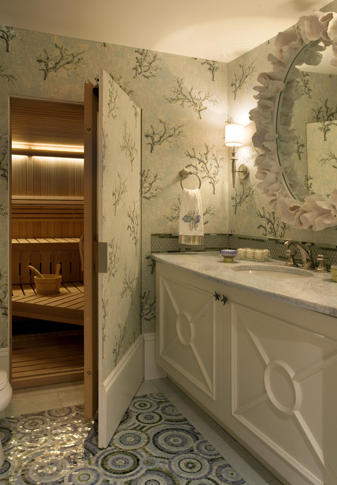 Inspiration for a contemporary mosaic tile mosaic tile floor sauna remodel in Boston