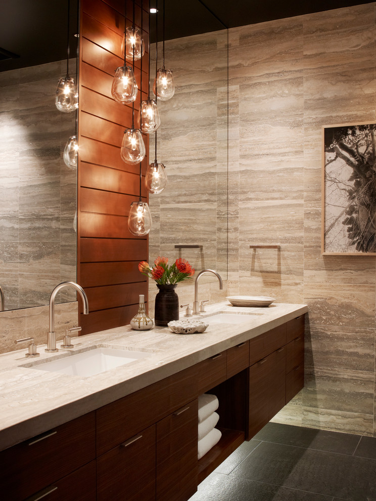 Inspiration for a contemporary beige tile bathroom remodel in Sacramento with flat-panel cabinets, medium tone wood cabinets and an undermount sink