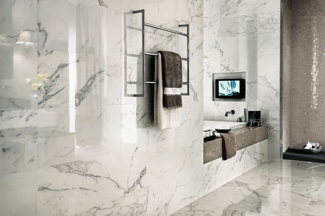 Marvel Premium Italian Marble Look Porcelain Tiles Contemporary Bathroom