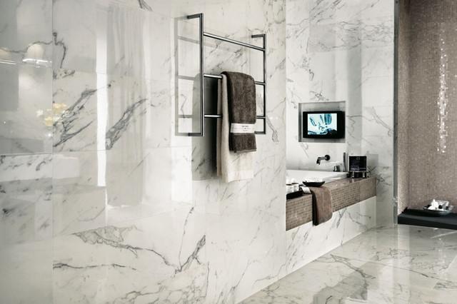marvel premium italian marble look porcelain tiles contemporary bathroom auckland by tile space new zealand - Bathroom In Italian