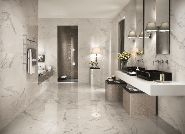 Marvel premium italian marble look porcelain tiles for Bathroom ideas 1920s home