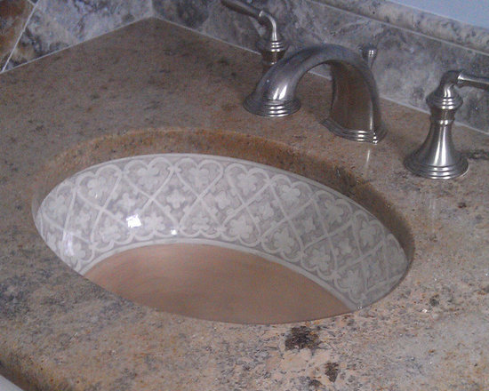 "Marzi Sinks at Home - Our standard oval undermount sink hand painted with a design we refer to as ""Hearts over Mocha"". Thank you to our client for sending in the photo of the finished installation."