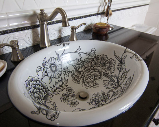 Marzi Sinks at Home - Z-42-500 Bird-in-Garden in black. From Marzi's self rimming collection, this sink is shown with a hand painted design inspired from Toile fabric.Photo provided from client. Thank you.