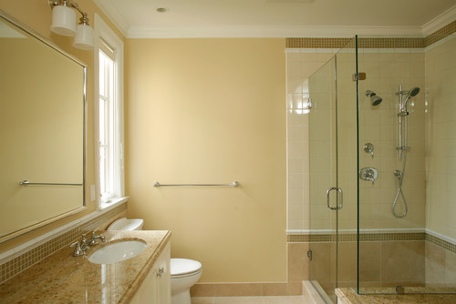 Simple I Would Like Some Advice On What Color To Paint A Small Bathroom With Green And Beige Tiles On The Floor And Bath Stall Also I Need To Know How To Tie It Together With Curtains On One Small Window, Bath Fixtures, Shower Curtain, Etc
