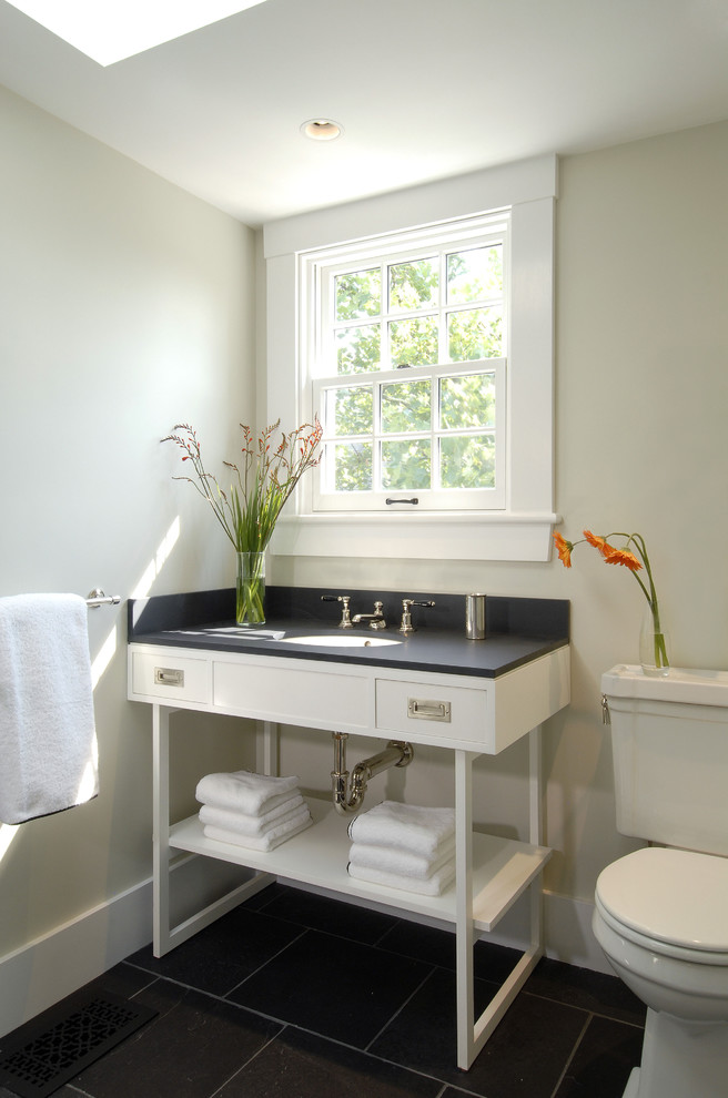Trendy black tile bathroom photo in Boston with an undermount sink, open cabinets and white cabinets