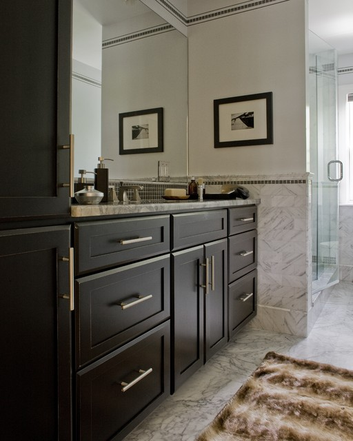 Large trendy marble floor bathroom photo in Boston with shaker cabinets, black cabinets, white