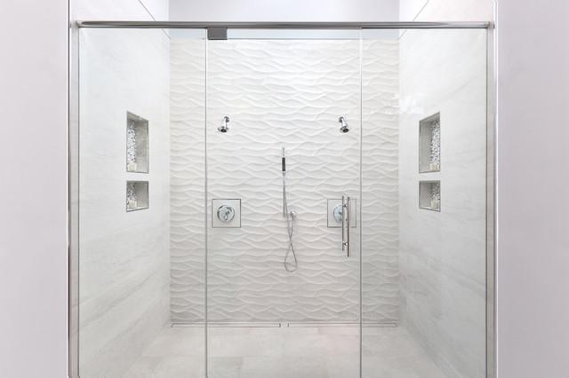 . Massive White Tile Shower for Two   Modern   Bathroom   Sacramento