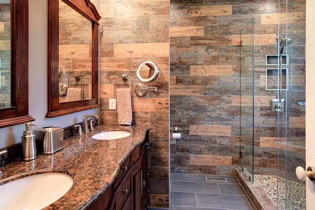 Master Guest Bathroom Makeovers Rustic Bathroom Other by