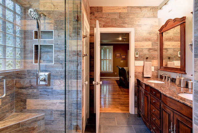 Rustic Bathroom Makeovers master & guest bathroom makeoverswood- - rustic - bathroom - other