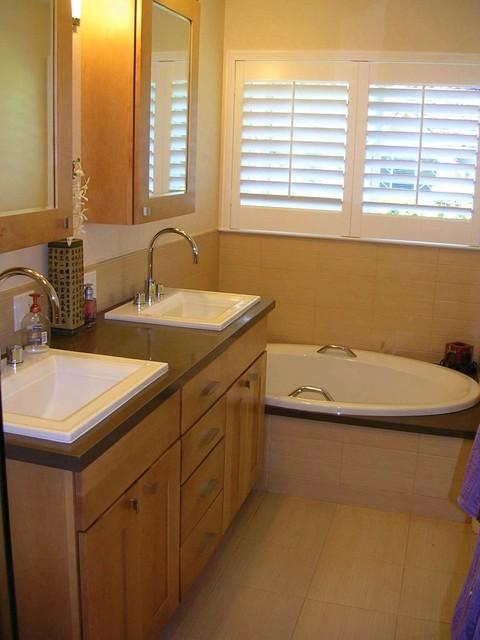Master asian inspired bath in Los Altos, CA contemporary-bathroom
