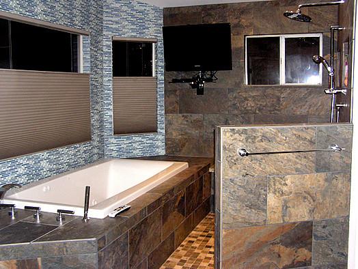 Master bath after remodel - wet room area contemporary-bathroom