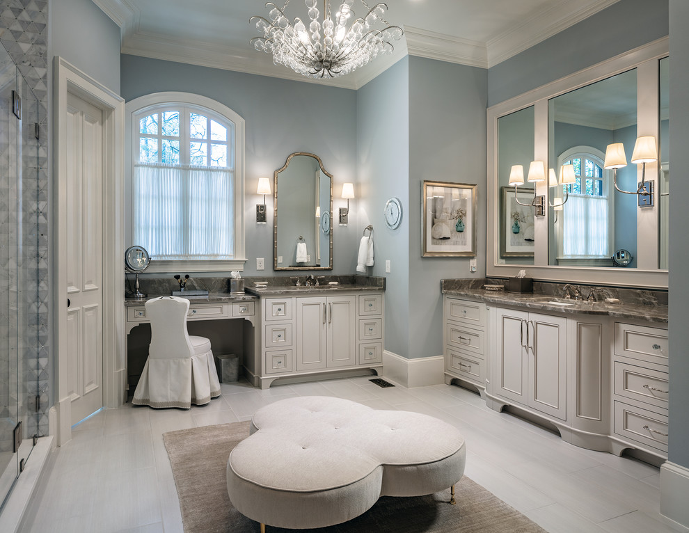 Inspiration for a large transitional master gray tile and mosaic tile porcelain tile and beige floor bathroom remodel in Atlanta with beige cabinets, gray walls, an undermount sink, quartzite countertops, a hinged shower door and multicolored countertops