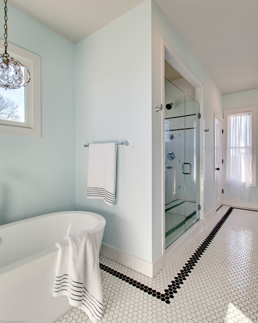Blue And White Bathrooms Country: Black And White Hex Tile With Icy Blue Walls