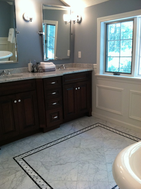 master bath classic in carrera marble traditional-bathroom