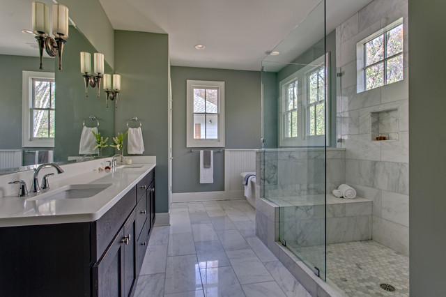 Master Bath - Classic White Marble - Rustic - Bathroom ...