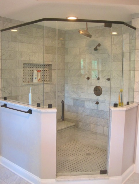 Master Bath Corner Shower Marble Subway Tile Oil Rubbed Bronze Fixtures Modern Bathroom