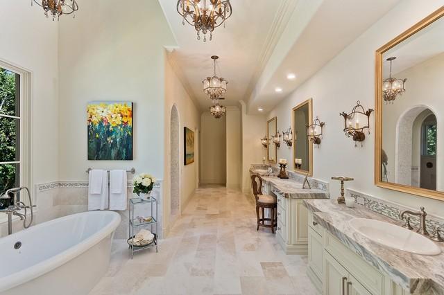 Master bath design in rancho santa fe transitional for Santa fe style bathroom ideas