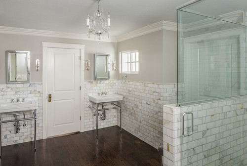 Sherwin Williams Mindful Gray Bathroom via White + Gold Design