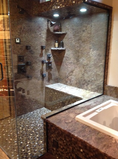 Master bath rustic bathroom for Cabin shower tile ideas