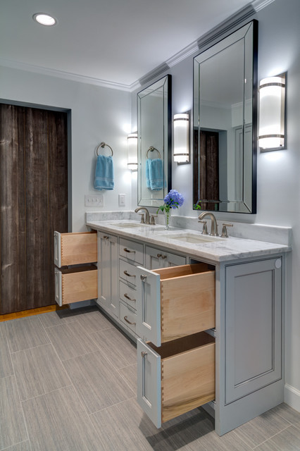 Master bath in cool gray modern bathroom atlanta for Cool master bathrooms