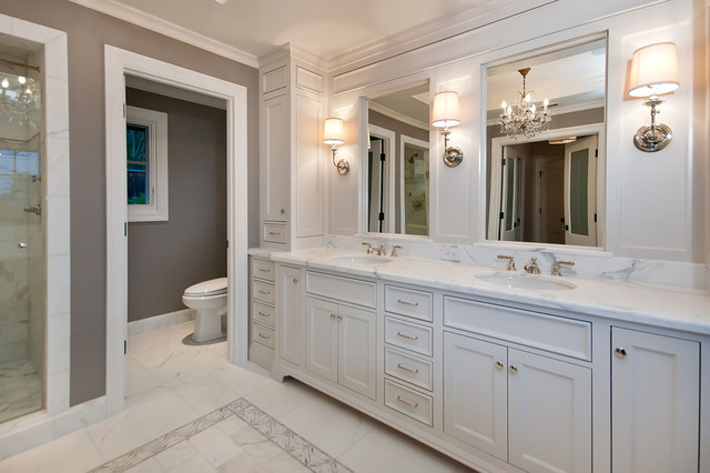 Master bath in white traditional bathroom san for Master bathroom white