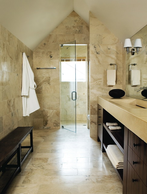 Master Bath - Contemporary bathrooms vaulted ceiling