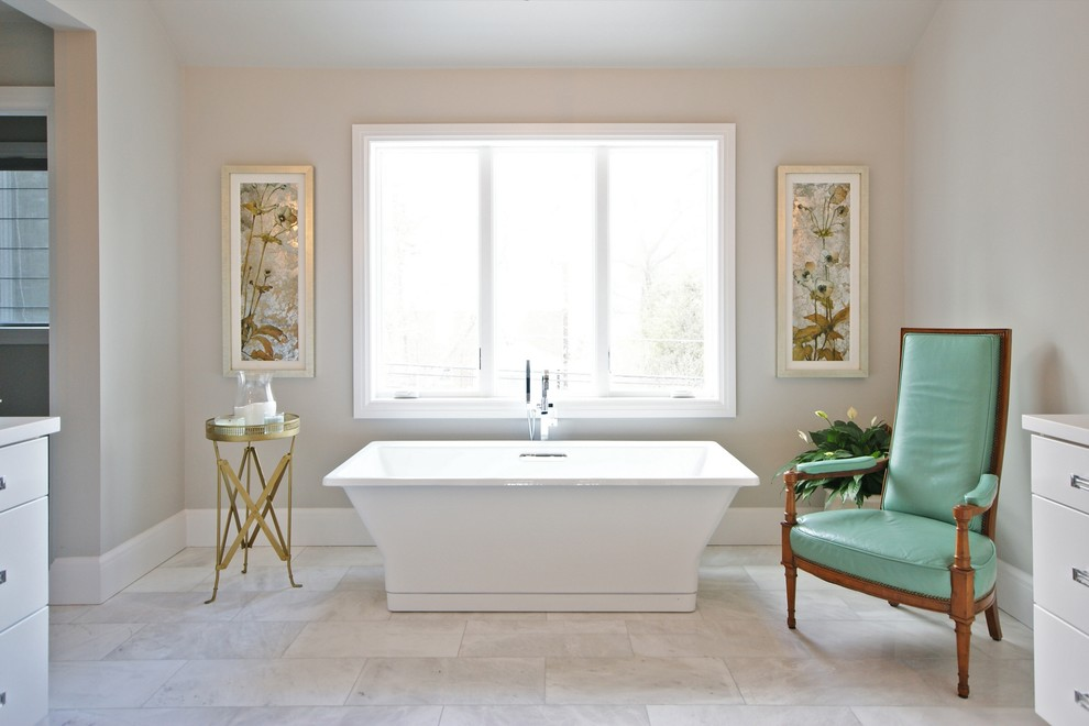 Inspiration for a contemporary freestanding bathtub remodel in Detroit