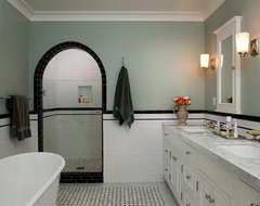 what color to paint upper walls of small black white tiled walls of