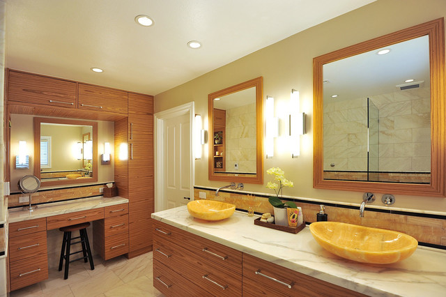 Master Bath Montecito with Honey Onyx Vessel Sinks - Contemporary ...