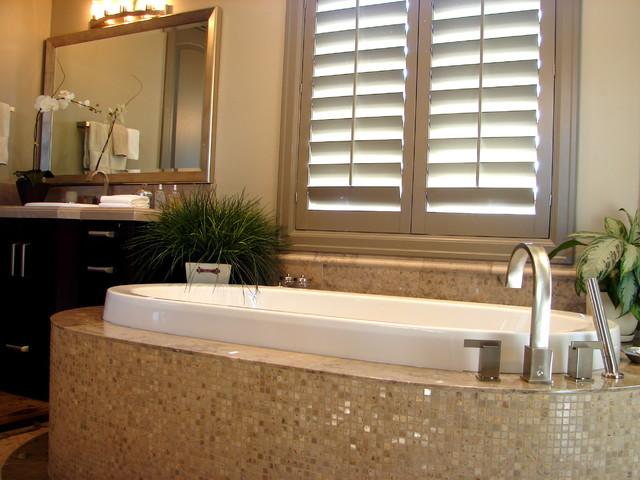 Master Bath Mosaic Tile on Tub Surround Contemporary