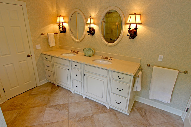 Master Bath Oasis White Cabinets Caesarstone Countertop Traditional Bathroom Cleveland