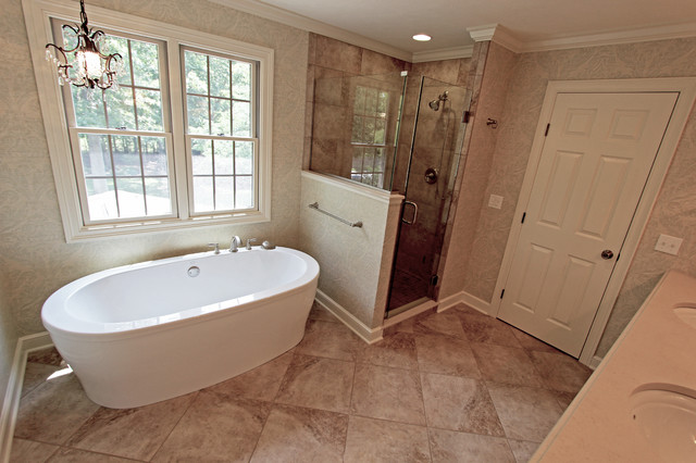 Master Bath Oasis, White Cabinets, Caesarstone Countertop  Traditional Bathroom