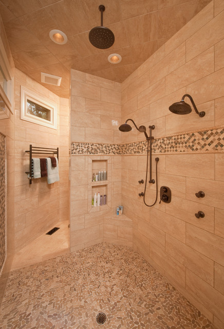 Double shower - traditional double shower idea in Raleigh