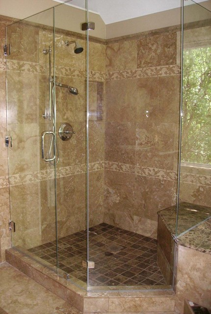 Master Bath Remodel Travertine Traditional Bathroom Dallas By Town