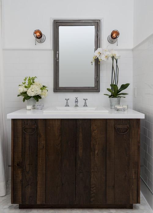 barnboard vanity; modern rustic; reclaimed wood vanity