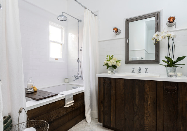 Charming Vintage Inspired Master Bath Remodel Farmhouse Bathroom Los Angeles By Four