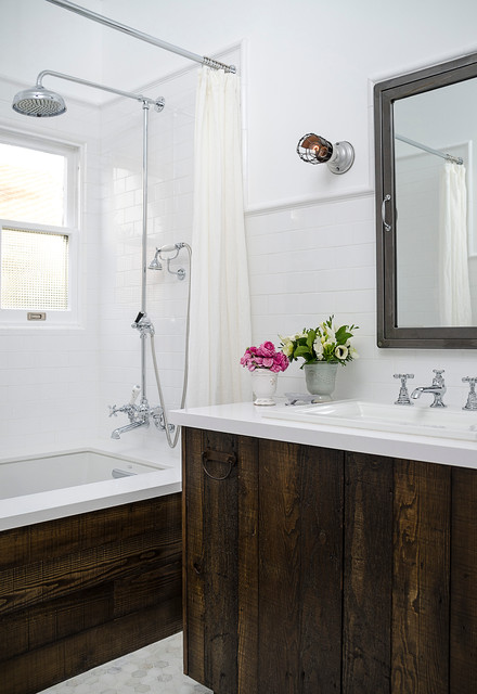 Charming vintage inspired master bath remodel transitional bathroom los angeles by four - Bathroom designs los angeles inspired ...