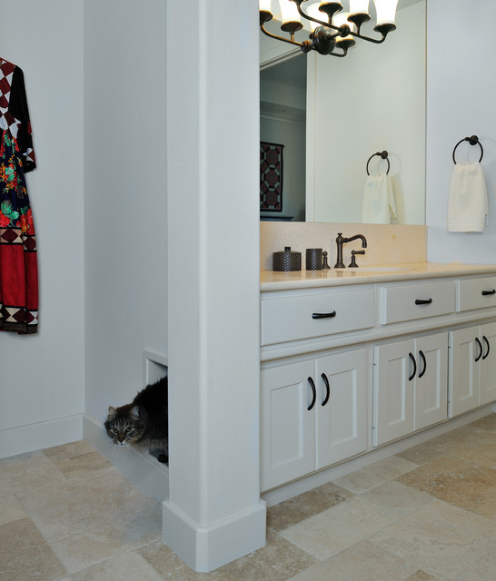 bathroom box master bath remodel with built in kitty litter box mediterranean bathroom