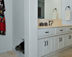 Master Bath Remodel with built-in kitty litter box eclectic bathroom