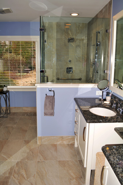 Master Bath Renovation Designed for Aging in Place transitional-bathroom