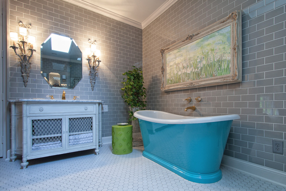 Inspiration for a mid-sized timeless master subway tile and gray tile porcelain tile and white floor bathroom remodel in Atlanta with shaker cabinets, distressed cabinets, gray walls, an undermount sink and marble countertops